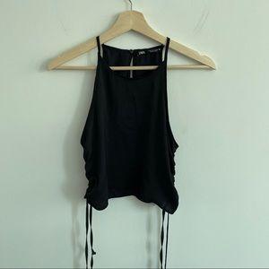 Zara NWOT Ruched Crop Top - Halter Top Black